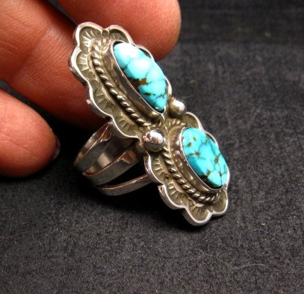 Image 2 of Native American Navajo Double Kingman Turquoise Ring sz6-1/2, D Delgarito