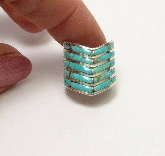 Image 4 of Andrew Enrico ~ Zuni ~ 5-row Turquoise Inlay Chevron Ring sz6-1/2