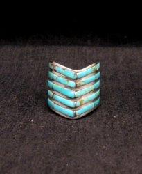 Andrew Enrico ~ Zuni ~ 5-row Turquoise Inlay Chevron Ring sz6-1/2