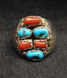 Navajo Native American Turquoise & Coral Sterling Silver Ring sz12 Julia Etsitty