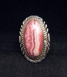 Native American Rhodochrosite Silver Ring sz7-1/2 - Thomas Francisco, Navajo