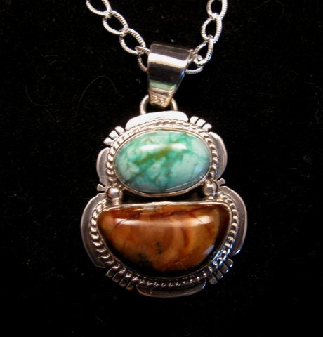 Image 0 of Navajo Mammoth Tooth & Turquoise Pendant Jewelry by Sampson Jake
