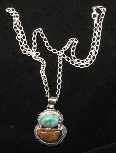 Image 2 of Navajo Mammoth Tooth & Turquoise Pendant Jewelry by Sampson Jake