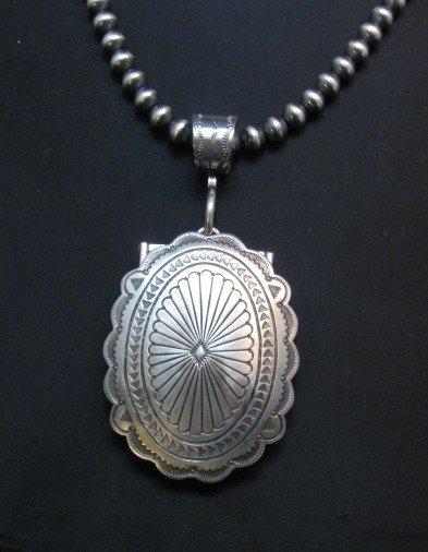 Image 4 of Navajo Stamped Sterling Silver Concho Belt Buckle, Joe Piaso Jr.