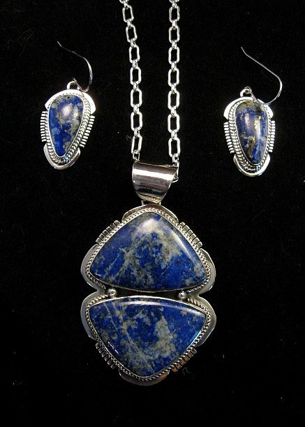 Image 1 of Native American Lapis Sterling Silver Necklace & Earrings Set - Navajo