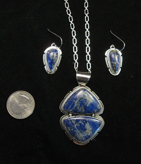 Image 6 of Native American Lapis Sterling Silver Necklace & Earrings Set - Navajo