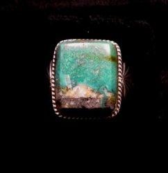 Navajo Native American Sunnyside Turquoise Silver Ring sz10