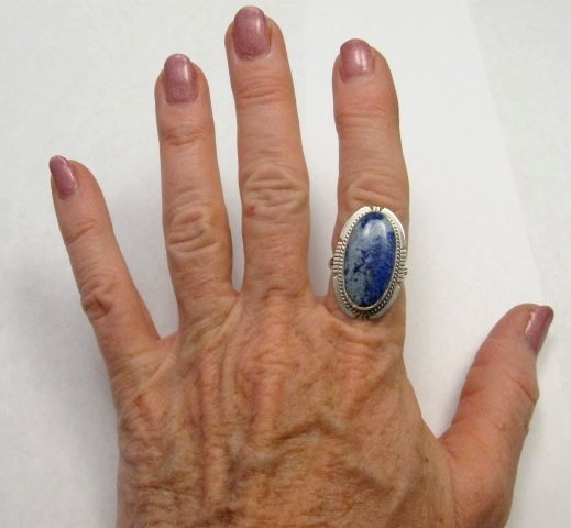 Image 1 of Navajo Native American Lapis Lazuli Ring sz8, Kathy Yazzie