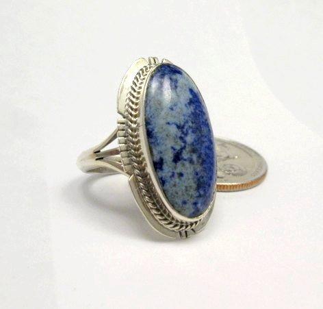 Image 2 of Navajo Native American Lapis Lazuli Ring sz8, Kathy Yazzie