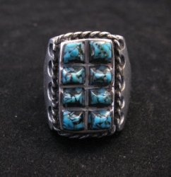 Vintage Native American Turquoise Sterling Silver Ring sz10-1/2, Estate Sale