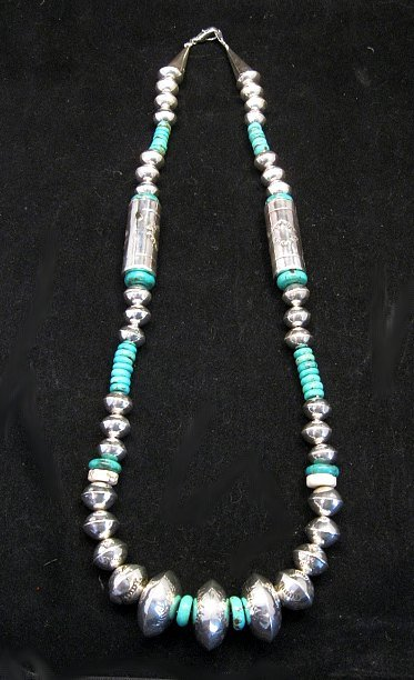 Image 0 of Navajo Stamped Silver Barrel Beads Turquoise Necklace, Lawrence Morgan