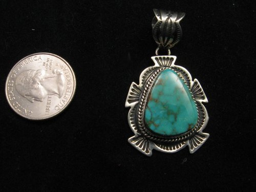 Image 1 of Cute Navajo Native American Royston Turquoise Silver Pendant, Happy Piasso