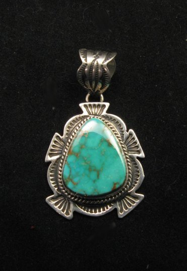 Image 2 of Cute Navajo Native American Royston Turquoise Silver Pendant, Happy Piasso