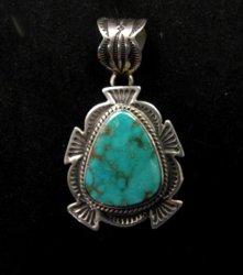 Cute Navajo Native American Royston Turquoise Silver Pendant, Happy Piasso