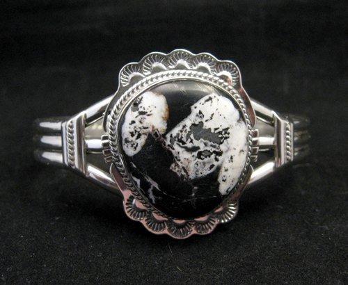 Image 0 of Navajo Native American White Buffalo Sterling Silver Bracelet, John Nelson