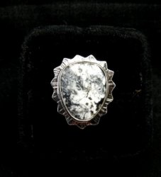 Native American Navajo White Buffalo Silver Ring Sz6