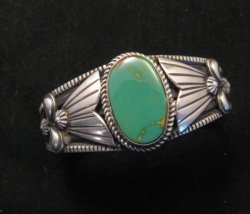 Native American Indian Green Turquoise Silver Bracelet, Derrick Gordon