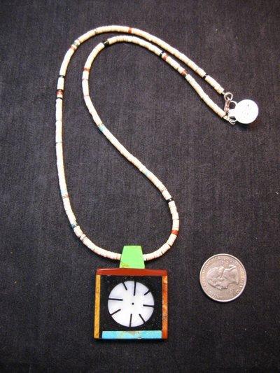 Image 1 of Mary Tafoya Santo Domingo Indian Multi-Stone Inlay Necklace