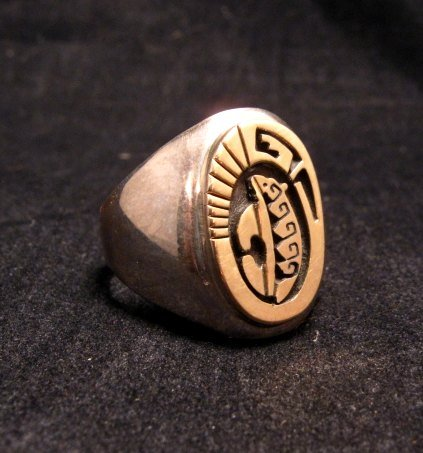 Image 0 of Navajo Calvin Peterson 14K Gold & Sterling Silver Bear Ring sz11