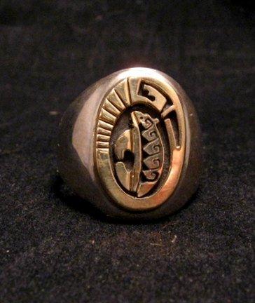 Image 1 of Navajo Calvin Peterson 14K Gold & Sterling Silver Bear Ring sz11