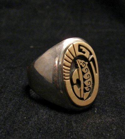 Image 2 of Navajo Calvin Peterson 14K Gold & Sterling Silver Bear Ring sz11