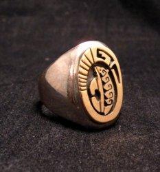 Navajo Calvin Peterson 14K Gold & Sterling Silver Bear Ring sz11