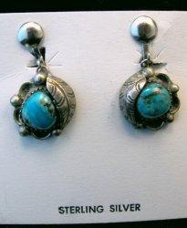 Vintage Navajo Indian Turquoise Silver Earrings Screw-backs
