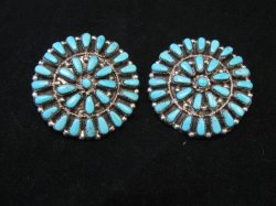 Big Zuni Turquoise Sterling Silver Cluster Earrings, Marcine Stead, Clip-on