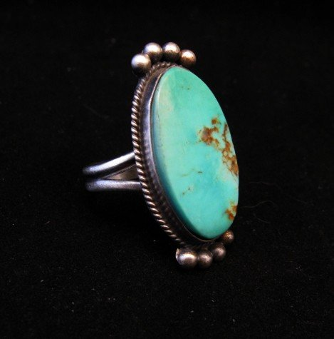 Image 1 of Navajo Native American Turquoise Silver Ring, Selena Warner, sz 6-1/2