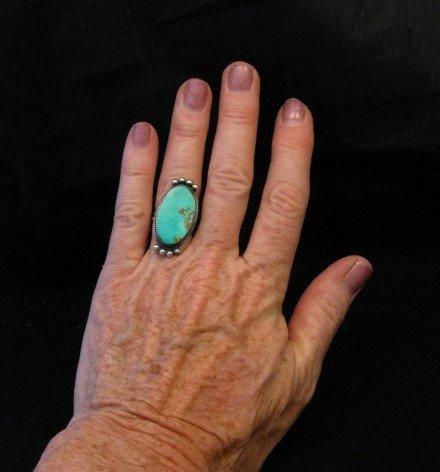 Image 2 of Navajo Native American Turquoise Silver Ring, Selena Warner, sz 6-1/2