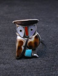 Zuni Multi Stone Inlay Owl Sterling Ring by Pitkin Natewa, sz6-1/4