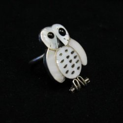 Zuni Indian Ring Snowy Owl Mother-of-Pearl Size 5-1/4, Reginda Kallestewa