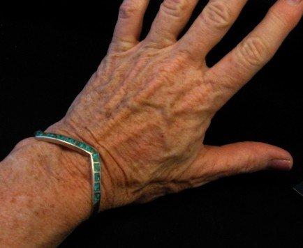 Image 3 of Vintage Zuni Zig Zag Turquoise Chip Inlay Silver Bracelet