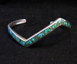 Vintage Zuni Zig Zag Turquoise Chip Inlay Silver Bracelet