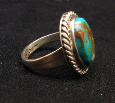 Image 1 of Native American Kingman Turquoise Ring sz8, Juan Abeyta