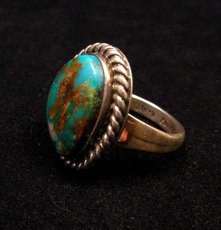 Image 2 of Native American Kingman Turquoise Ring sz8, Juan Abeyta