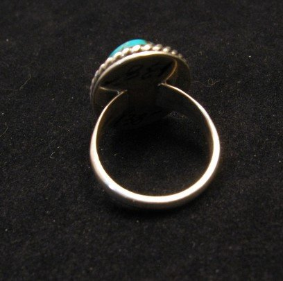 Image 3 of Native American Kingman Turquoise Ring sz8, Juan Abeyta