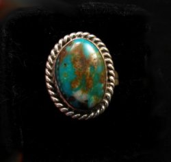Native American Kingman Turquoise Ring sz8, Juan Abeyta