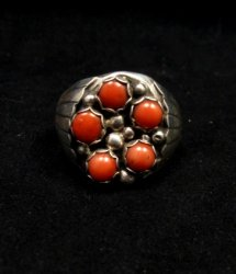 Navajo Indian Coral Sterling Silver Ring sz13-1/2, Marlene Martinez