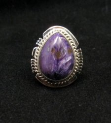 Navajo Native American Charoite Ring sz6-3/4, Larson Lee