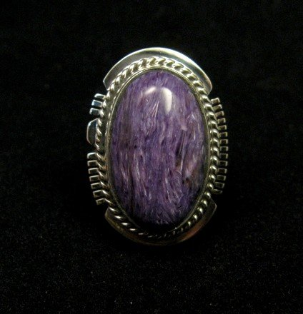 Image 0 of Oval Navajo Native American Charoite Silver Ring sz7, Larson Lee