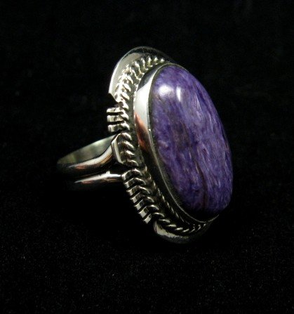 Image 1 of Oval Navajo Native American Charoite Silver Ring sz7, Larson Lee