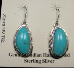 Navajo Native American Turquoise Silver Dangle Earrings, Kathy Yazzie
