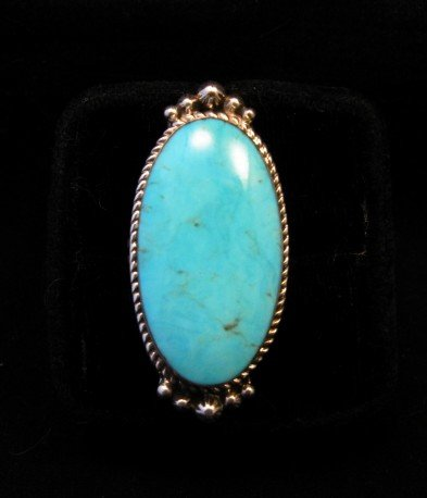 Image 0 of Greg Yazzie Native American Indian Kingman Turquoise Silver Ring sz6-1/2