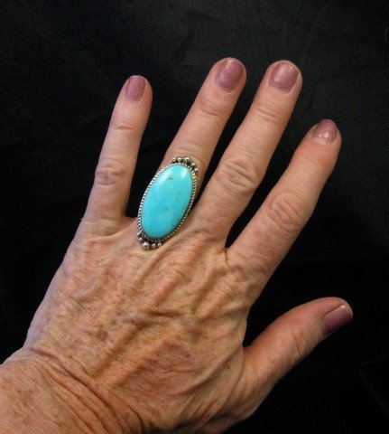 Image 2 of Greg Yazzie Native American Indian Kingman Turquoise Silver Ring sz6-1/2
