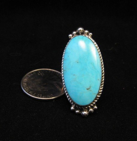 Image 3 of Greg Yazzie Native American Indian Kingman Turquoise Silver Ring sz6-1/2
