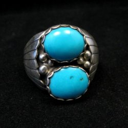 Navajo Native American Double Turquoise Silver Ring sz13-1/2, Marlene Martinez