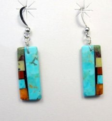 Santo Domingo Indian Turquoise Multi Inlay Earrings, Mary Tafoya