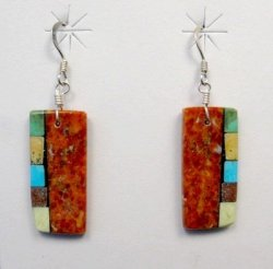 Reversible Santo Domingo Apple Coral Inlay Earrings, Mary Tafoya