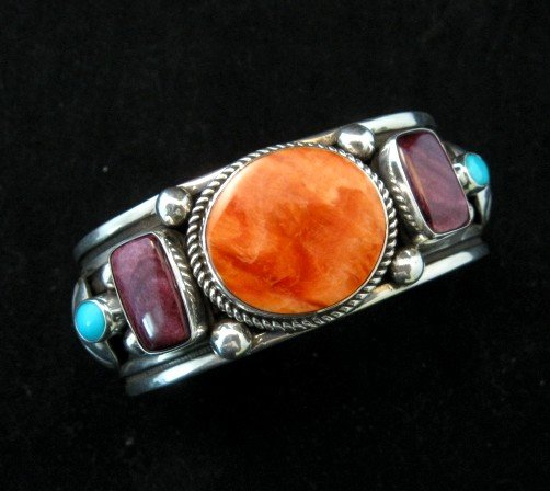Image 0 of Native American Multistone Sterling Silver Bracelet, Albert Jake, Navajo